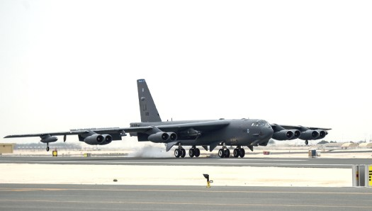 A B-52 bomber touches down at Al Udeid Air Base in Qatar in 2016.