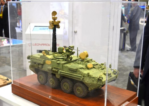 A model of a Stryker vehicle with the Trophy MV variant and various additional sensors.