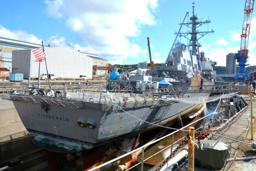 The USS Fitzgerald sits in dry dock in Japan in July 2017.