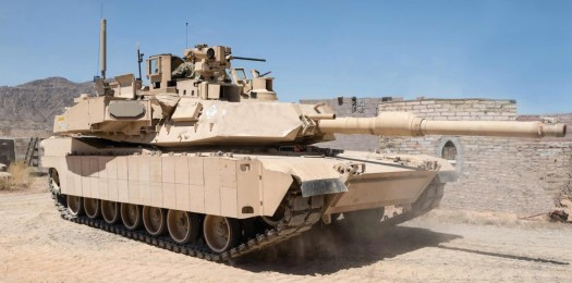 An M1 Abrams tank with the Trophy active protection system.