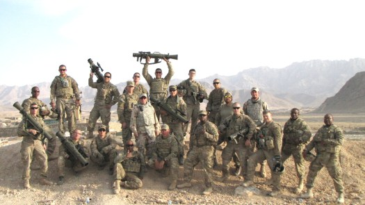 Soldiers from the 25th Infantry Division in Afghanistan, along with contractors, show off their M3 Carl Gustafs in 2011.