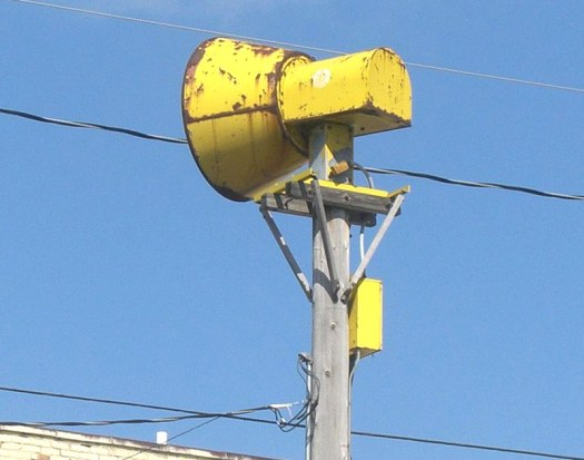 A badly weathered warning siren in Marshfield, Wisconsin in 2009.