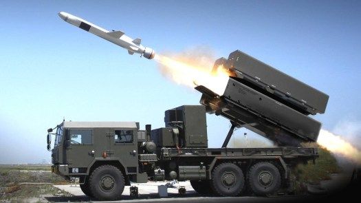 A truck-mounted NSM launcher.