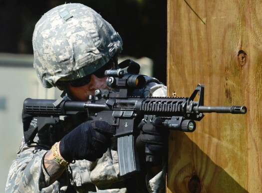 An Air Force Security Forces airman with a standard M4 carbine during a training exercise.