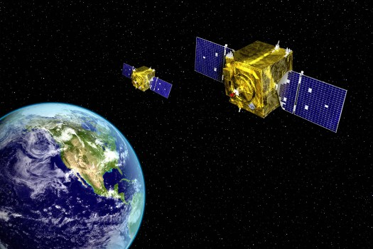 """An artist's impression of """"Neighborhood Watch"""" space monitoring satellites of the Air Force Space Command's Geosynchronous Space Situational Awareness Program, or <a href="""