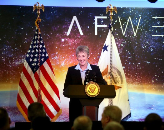 Secretary of the Air Force Heather Wilson speaks at an event in January 2018.