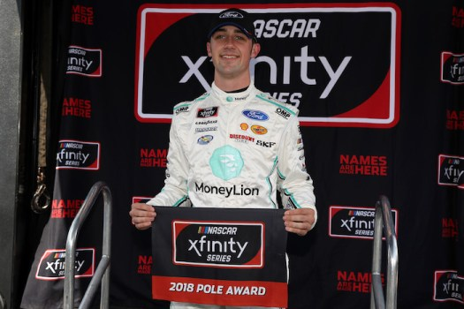 Austin Cindric wins the pole for the Drive for the Cure 200 at the Charlotte Motor Speedway Roval on Sept. 29, 2018.