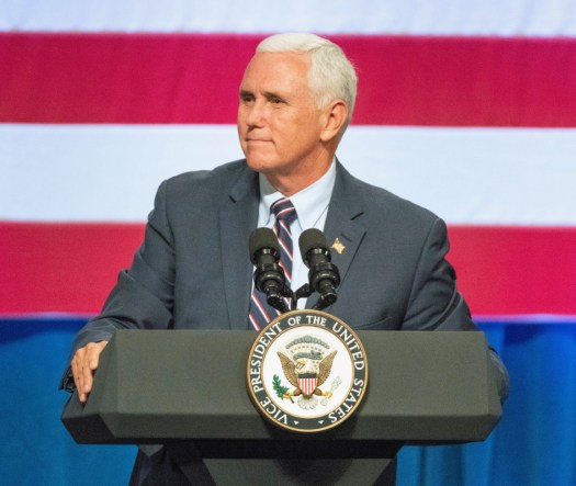 US Vice President Mike Pence speaks at a political rally on Oct. 3, 2018.