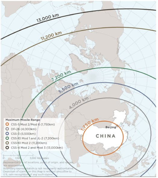 A map showing the ranges of various Chinese Intermediate Range Ballistic Missiles (IRBM) and Intercontinal Ballistic Missiles (ICBM). The range given for the DF-26 here is 4,000 kilometers, or 2,485 miles, and from the range ring's center point in central China, this would give the DF-26 more than enough range to strike any target in the South China Sea.