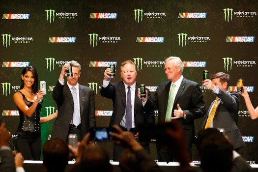 Former NASCAR Chairman and CEO Brian France participates in the official announcement of Monster Energy's title sponsorship of NASCAR's premier series in Las Vegas on Dec. 1, 2016.