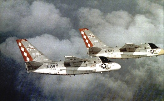 A pair of VS-30 Vikings in flight in September 1981, the same month they spotted the only Project 661 submarine out at sea.