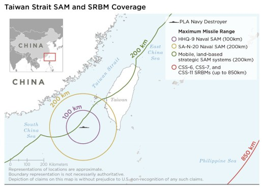 An annotated map showing the range of certain Chinese surface-to-air missile systems and short-range ballistic missiles in respect to Taiwan. The maximum range of the S-400 with the 40N6 is twice that of the green line shown here.