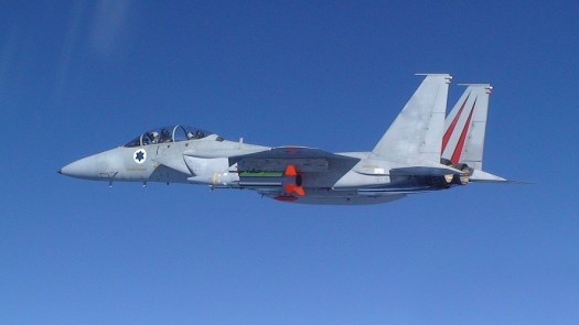 An Israeli Air Force F-15 carries a Black Sparrow surrogate ballistic missile.