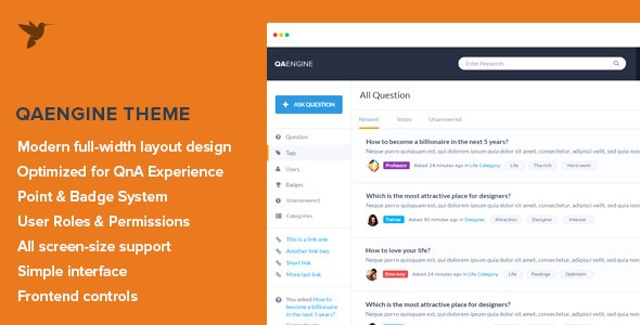 QAEngine v2.0.9 – Question and Answer WordPress Theme Nulled