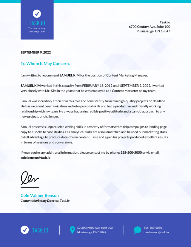 Business Employee Recommendation Letter