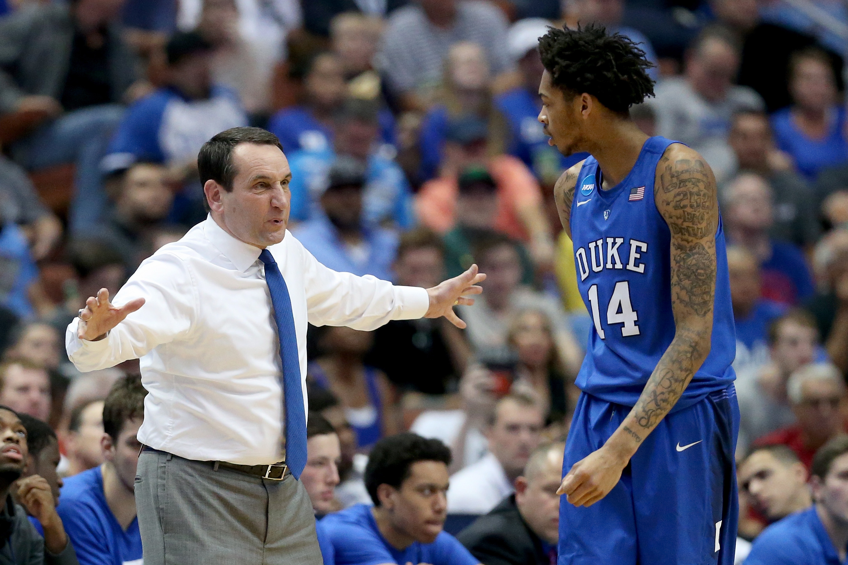 ANAHEIM, CA - MARCH 24: Head coach Mike Krzyzewski of the Duke Blue Devils talks with Brandon Ingram #14 in the first half against the Oregon Ducks in the 2016 NCAA Men's Basketball Tournament West Regional at the Honda Center on March 24, 2016 in Anaheim, California. (Photo by Sean M. Haffey/Getty Images)