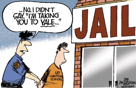 Cartoon of a sat cheating scandal