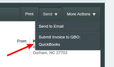 Submitting a ServiceTrade Invoice to QuickBooks   ServiceTrade Help         click the Send menu and choose the QuickBooks company to which you want  to send this invoice  If you have multiple QuickBooks integrations  configured