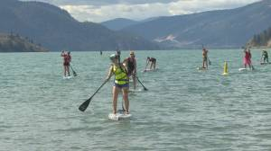 Paddleboarders competing on Kalamalka Lake