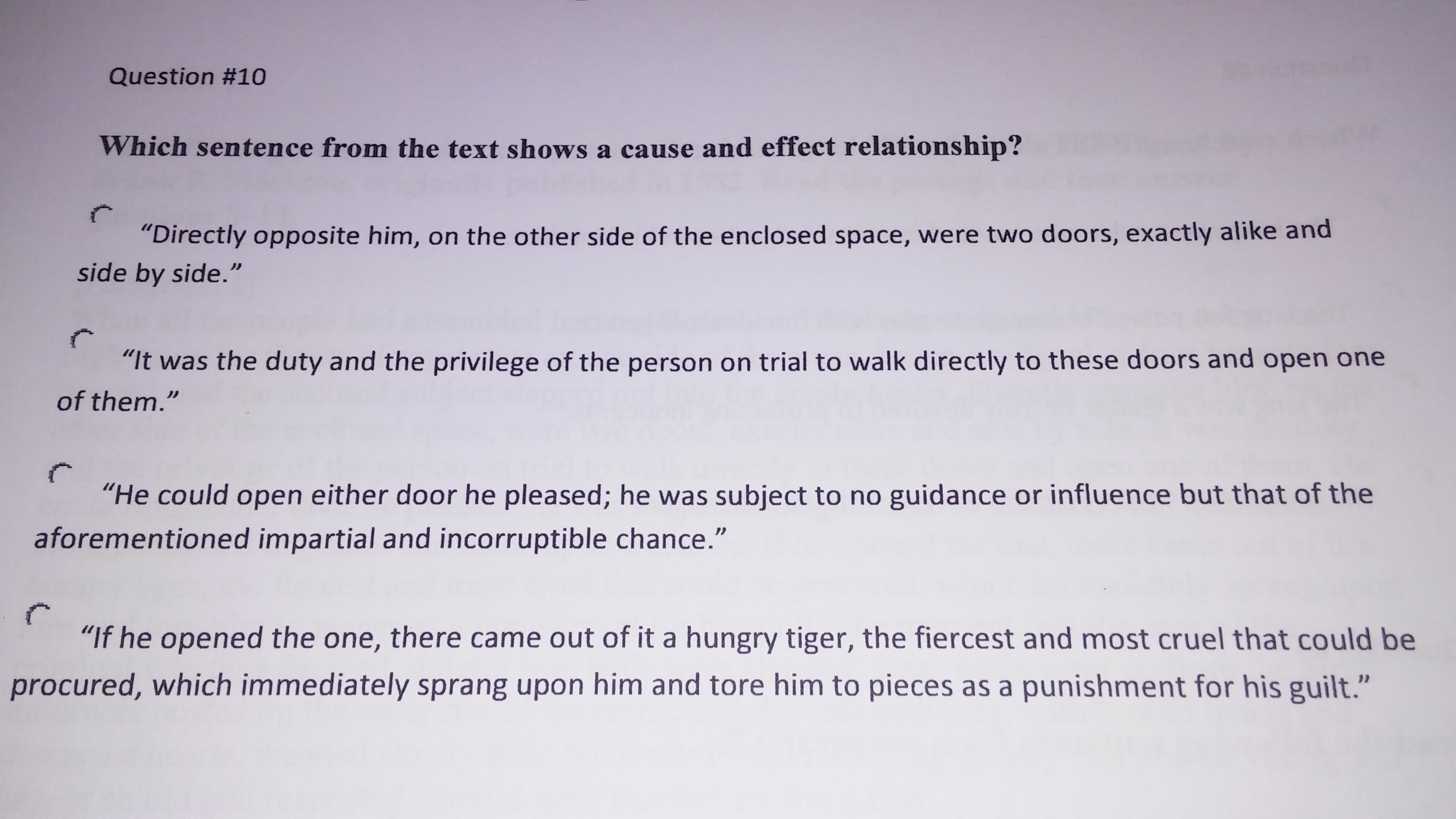 Which Of These Sentences From The Lady Or The Tiger By