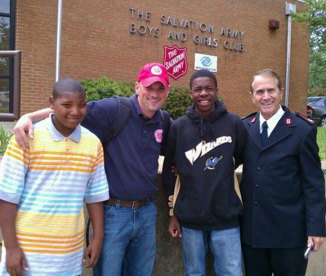 From L To R Andy Jeff Robert And Major Wayne Give Big Two More Salvation Army
