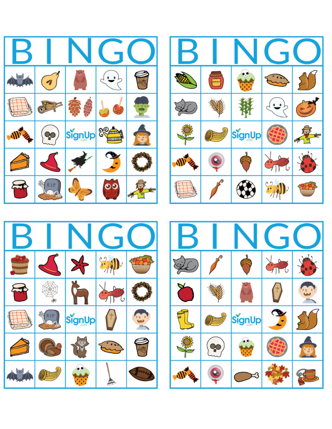 Printable Bingo Cards Fun Fall Classroom Party Activity
