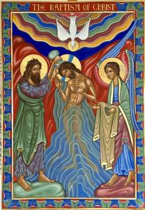 Romanesque Style Baptism of Christ For Hereford Cathedral - egg tempera and  gold leaf on gessoed panel
