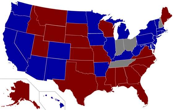 States that have not expanded Medicaid are in red. Image: Wikimedia Commons