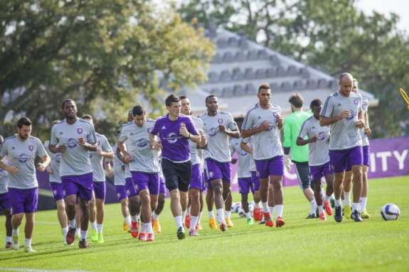 The new expansion team has been training in Sanford this week for its first away game of the season. Photo: Orlando City Soccer Club.