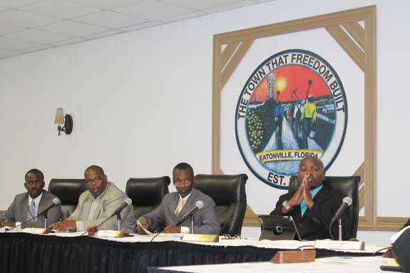(L to R: Councilman Theo Washington; Councilman Eddie Cole; Mayor Anthony Grant; Councilman Rodney Daniels.) Photo: Renata Sago.