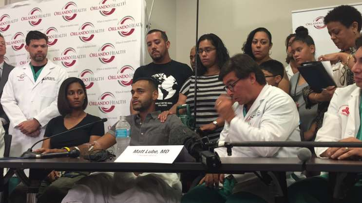Pulse nightclub shooting survivor Angel Colon speaks at ORMC press conference