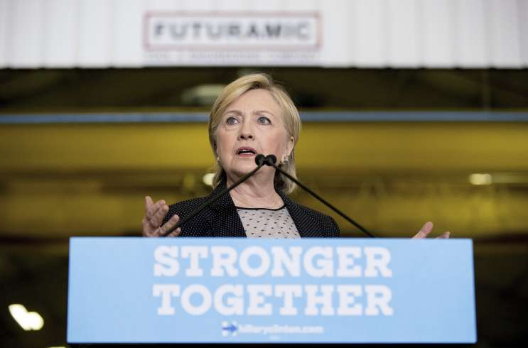 Hillary Clinton speaking on the campaign trail.