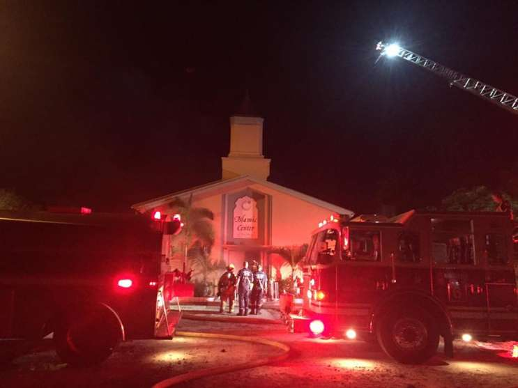 Fire officials investigate outside the Islamic Center of Ft. Pierce. Photo: St. Lucie County Sheriffs Office