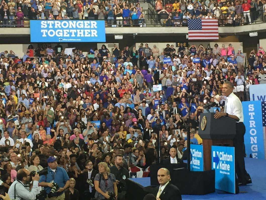 President Obama stops in central Florida to stump for Democratic presidential candidate Hillary Clinton. Photo: Renata Sago.