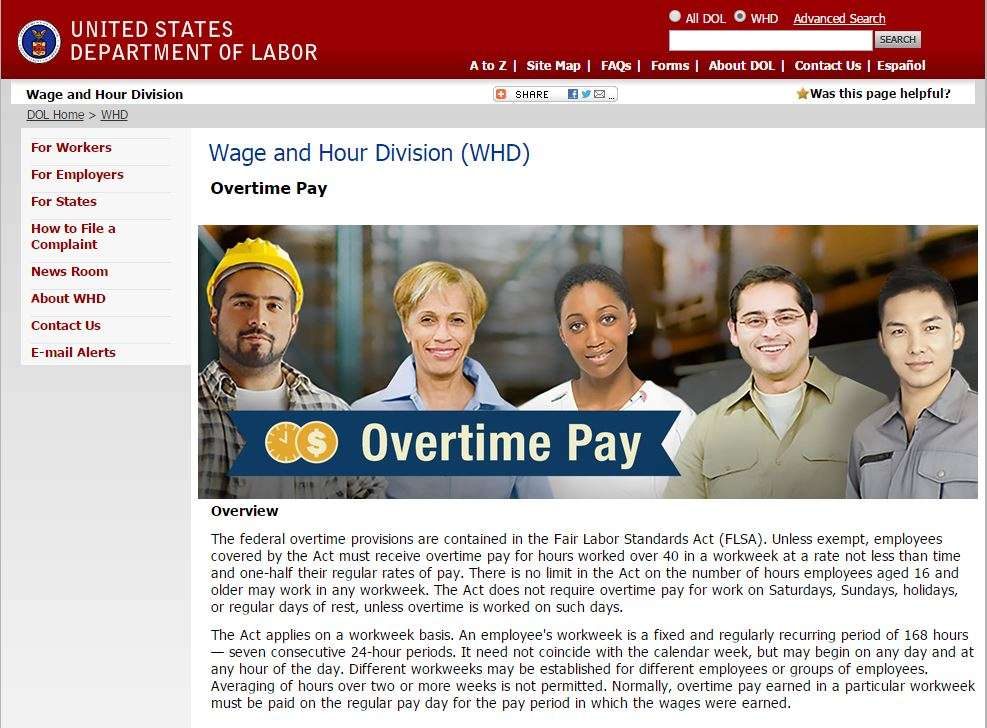 Screenshot of the Department of Labor website