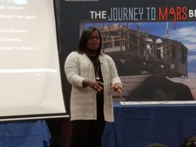 Vasquez speaks to young kids about her job at NASA. Photo: Brendan Byrne