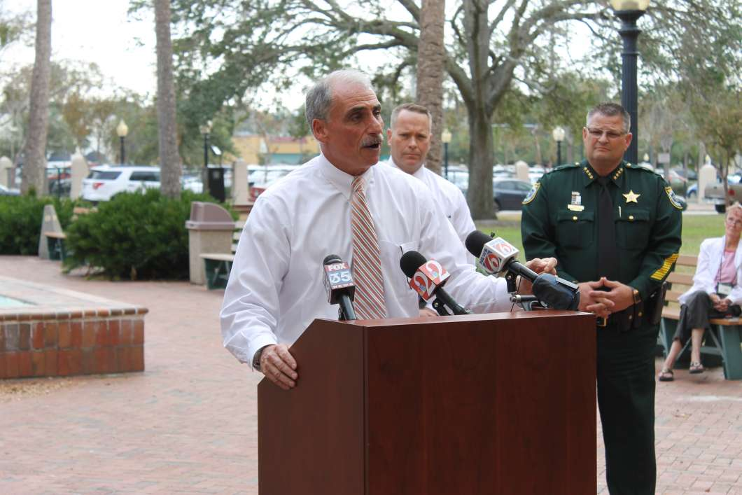 Mike Chitwood talking to media about his plans for the sheriff's office. Photo: Matthew Peddie, WMFE