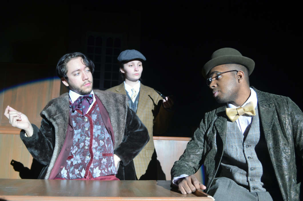 "Gabriel Garcia, Kaitlyn Read, and Adam Byrd (left to right) perform a scene in ""Gross Indecency: The Three Trials of Oscar Wilde."" Photo courtesy of Richard Harmon"