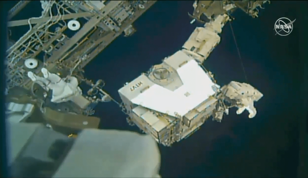 NASA astronauts replace three old nickel-hydrogen batteries on the ISS