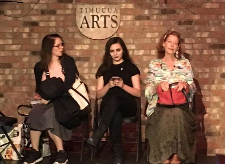 "Danielle Bouloy, Gabriela Torres, and Katrina Tharin (left to right) rehearse ""A Slow Ride"" at Timucua. Photo courtesy of Joseph Reed Hayes' Facebook page"