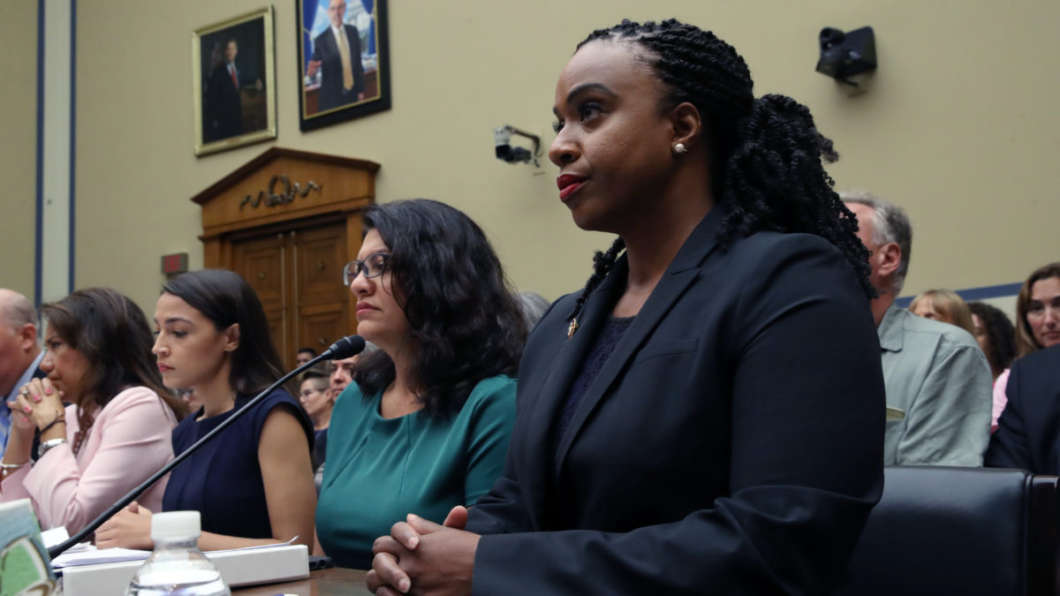 Reps. Veronica Escobar, D-Texas (from left), Alexandria Ocasio-Cortez, D-N.Y., Rashida Tlaib, D-Mich., and Ayanna Pressley, D-Mass., attend a House oversight hearing on conditions for detained migrants at the U.S.-Mexico border.