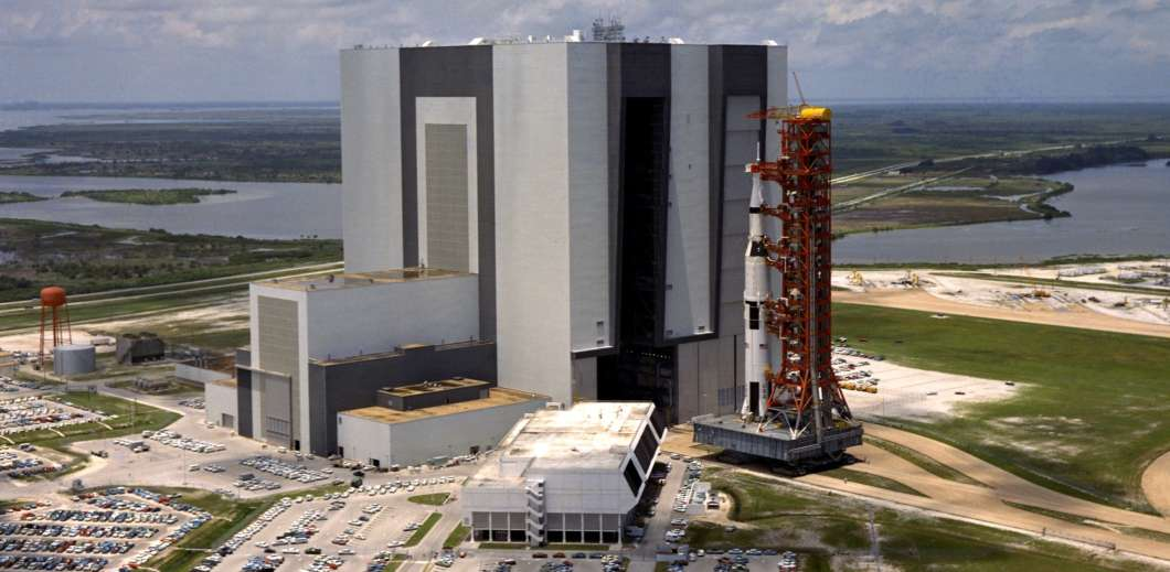 Apollo 11 rolls out of the VAB at NASA's Kennedy Space Center ahead of the launch. Photo: NASA