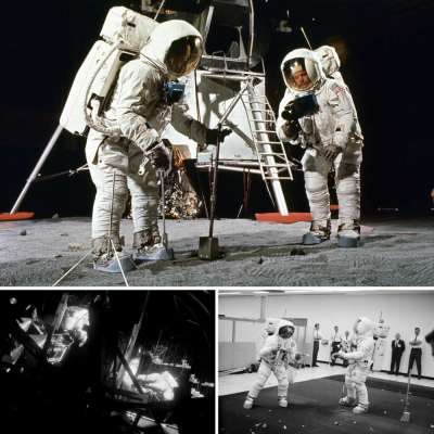 The astronauts of Apollo 11 train in various simulations.