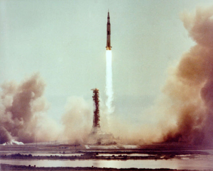 The 363-foot Apollo 11 spacecraft launches on July 16, 1969.