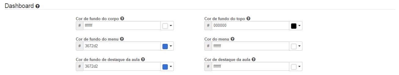 Personalizar as cores da dashboard.
