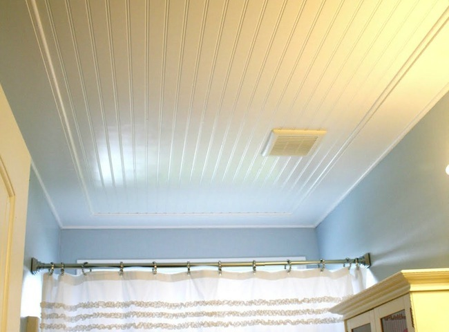 DIY Bathroom Ideas - Beadboard Ceiling