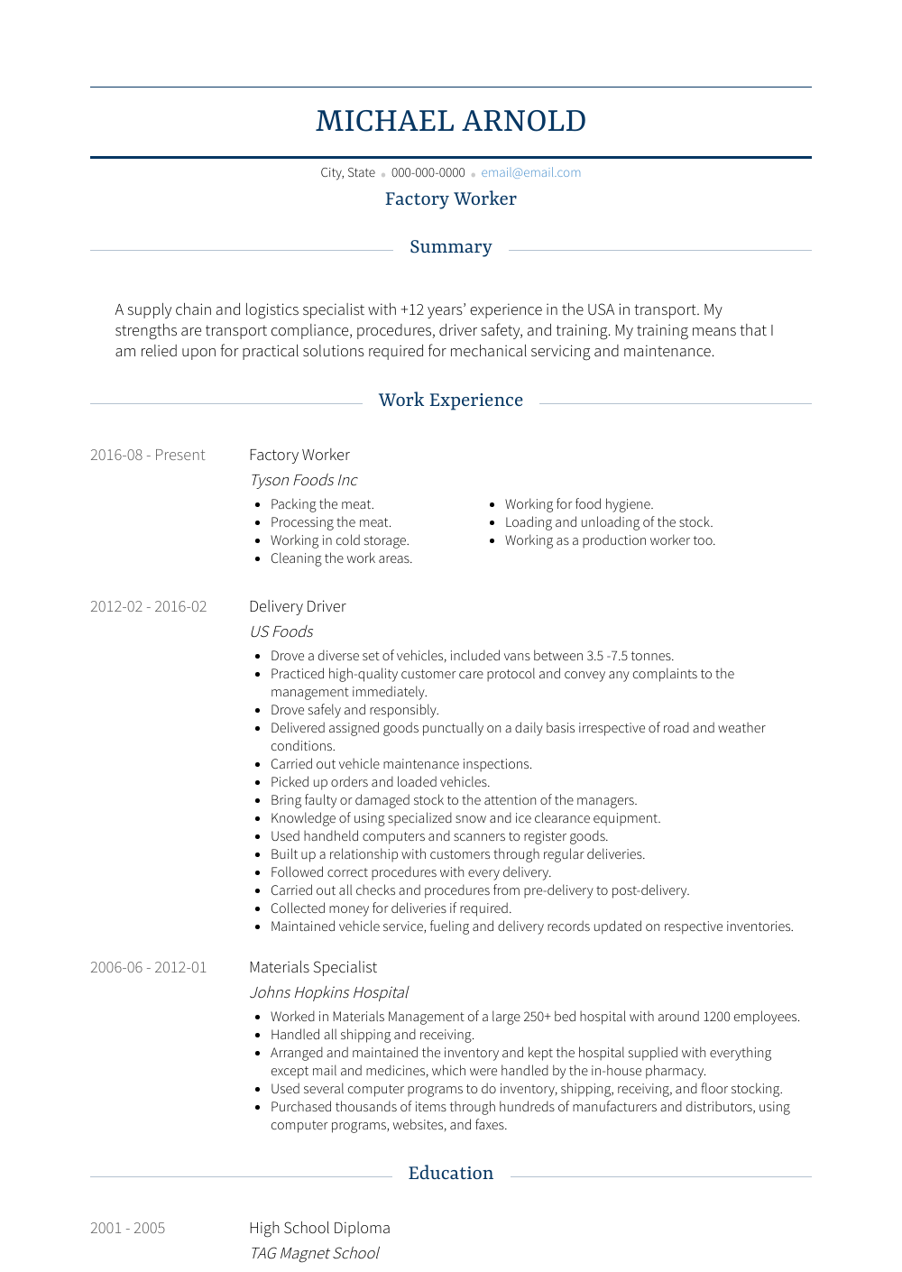 Resume For A Factory Worker