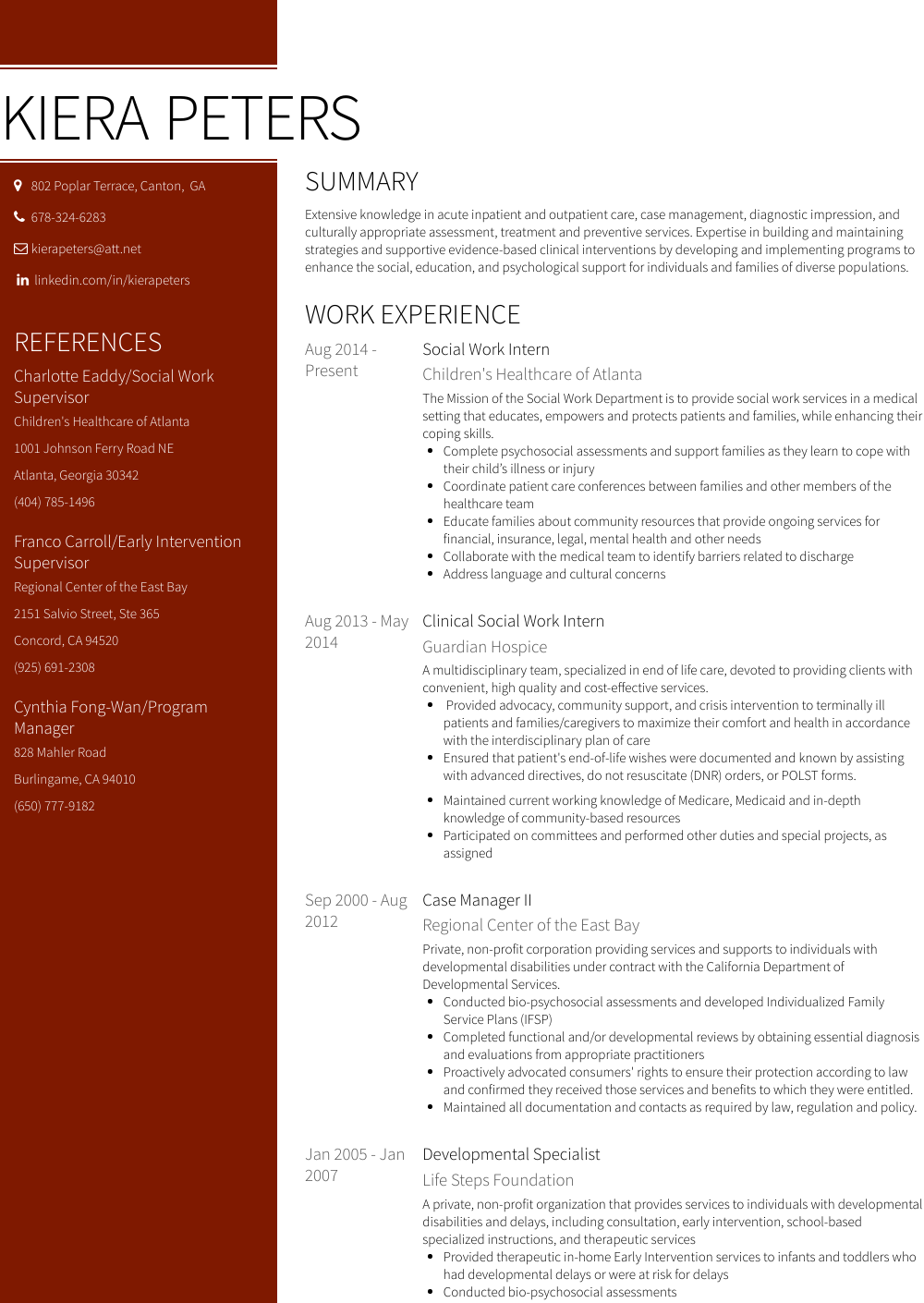Social Work Resume Samples And Templates Visualcv