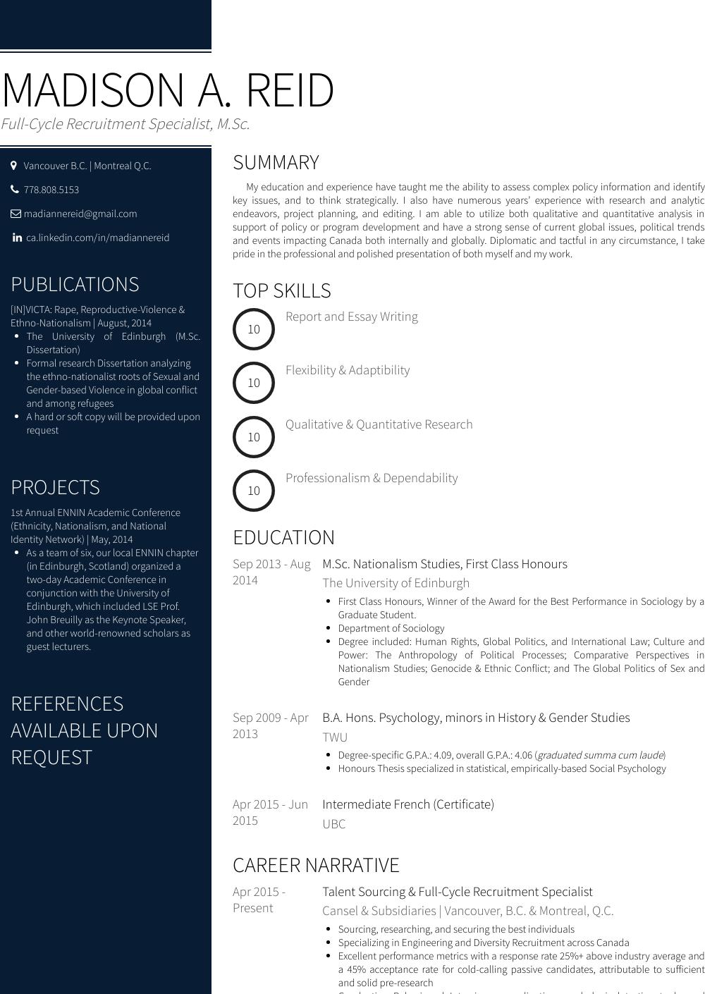 Recruitment Specialist Resume Samples Amp Templates VisualCV