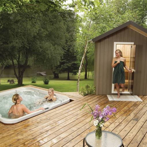 Finnleo Traditional Outdoor Saunas Patio Series   Capital Hot Tubs Finnleo Patio Sauna